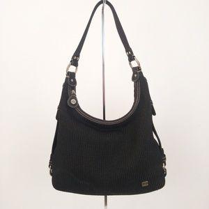The Sak Black Crochet Woven Hobo Shoulder Bag